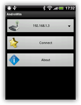 AndroWin for Android main menu